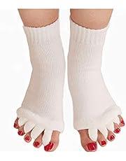 Lezed Vijf Teen Separator Sokken voor yoga Voetuitlijning sokken Teen Spacer Brancard Sport Sokken Voeten Pijn Relief Half Teen Sokken Non Slip Toeless Katoen Sokken Voor Gym Massage 2 Paar (Wit)
