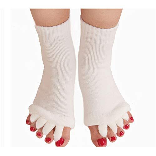 LEZED Zehenspreizer-Socken für Yoga Fuß Ausrichtung Socken Halbzehensocken Hälfte Fuß Socken Toe Separator Socken Wellness Comfy Toes Socken Ausrichtung für Gym Massage Schmerzlinderung Weiß 2 Paare