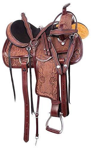 Open Store Western Pleasure Trail Horse Saddle Barrel Racing Premium Leather Show TACK Set Bridle REINS Breastplate