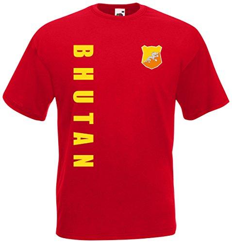 Bhutan T-Shirt Trikot Wunschname Wunschnummer (Rot, L)