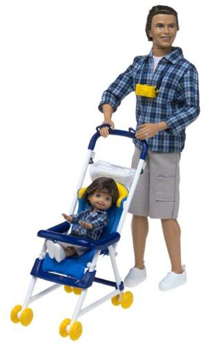 Mattel Barbie - Glückliche Familie - Alan & Ryan Dolls - Dad & Sohn mit Kinderwagen (2002)