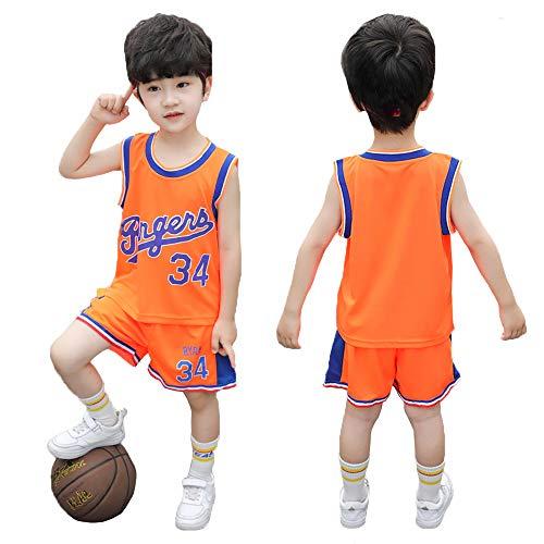 TANERDD Kids Sports Shorts Sets Fußball Basketball Uniform Trikots Trainingsanzug Trainingsanzüge Sommer Kurzarm Set für 4-13 Jahre,Orange,110cm