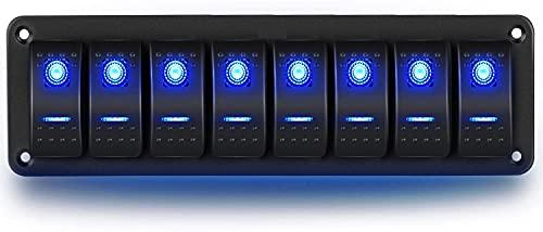 CT-CARID - Pannello di commutazione a 8 vie, a 12 V, impermeabile, con spie a LED blu, per imbarcazioni, auto, camion, camper, roulotte, veicoli vari