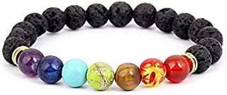 Men Women 8mm Lava Rock 7 Chakras Bracelet Braided Rope Natural Stone Yoga Beads Bracelet Gold