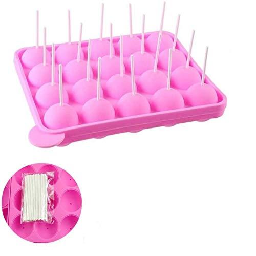 Erlsig 20 de Molde Lollipop,molde cake pop, silicona bandeja Stick mould +100 Stick, Moldes para bizcoletas, Repostería,no adhesivas, rosa
