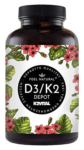 Vitamin D3 + K2 Tabletten - 180 Stück - Hochdosiert mit 5000 I.E. Vitamin D3 und 100 mcg Vitamin K2 pro EINER Tablette - Hochwertig: 99,7+{4d6dcc293e7efe6cdb75c3e42ab47899e5ae895bfb015e536eaaf3ab753c72cb} All-Trans MK7 (K2VITAL®) - in Deutschland produziert