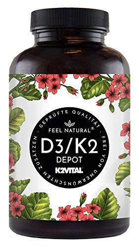 Vitamin D3 + K2 Tabletten - 180 Stück -...