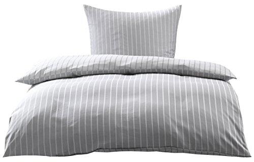 Bettwaesche-mit-Stil Mako Satin Damast Streifen Wendebettwäsche Santiago gestreift (Silber - grau, 135cm x 200cm + 80cm x 80cm)