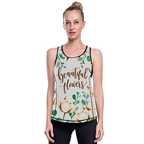 Montoj - Camiseta de tirantes de secado rápido con flores para gimnasio, fitness, correr, culturismo 1 M
