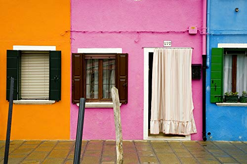 Posterazzi PDDEU16BJY0270 Italy, Burano. Colorful House Windows and Walls Photo Print, 18 x 24, Multi