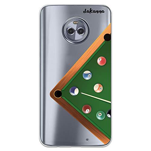 dakanna Kompatibel mit [Motorola Moto X4] Flexible Silikon-Handy-Hülle [Transparenter Hintergrund] Billardtisch Design, TPU Case Cover Schutzhülle für Dein Smartphone