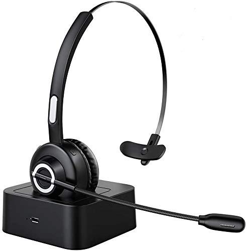 Esolom Cuffia Senza Fili Auricolare Bluetooth 5.0 con Microfono e Potente Cancellazione di Rumore, Call Center Cuffie con Base di Ricarica e 17 Ore di Talk Time per PC Ufficio Telefono