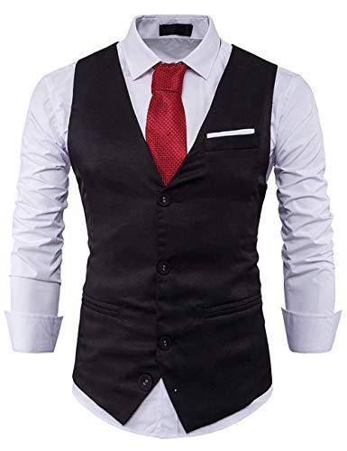 Pinkpum vest heren V-hals mouwloos vest slim fit smoking sakko herenpak pak business huwelijk