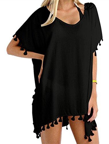 Yincro Women's Chiffon Swimsuit Beach Bathing Suit Cover Ups for Swimwear (Black Tassel, Size C)