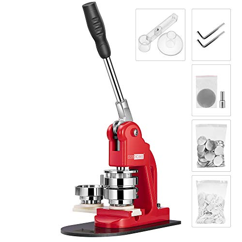 VIVOHOME Button Maker Machine 58mm 2¼ inch Badge Maker Pins Punch Press Machine with 1000 Pcs Button Parts and Circle Cutter Red
