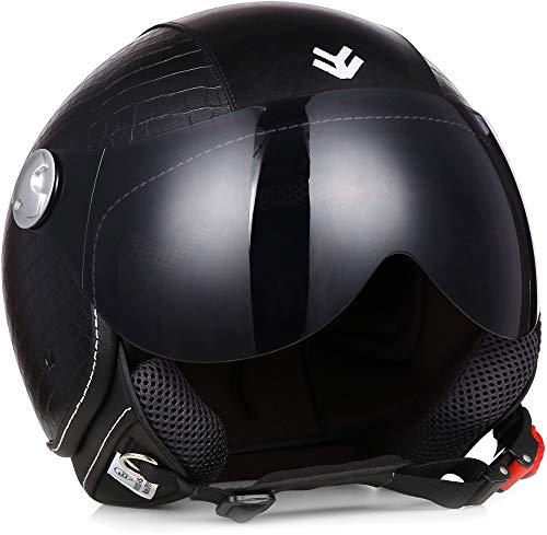 "Armor · AV-84 Pure ""Croko"" · Casco moto Demi Jet · Scooter Urbano Retro motocicleta Helmet Urban · ECE certificado · Visor · Exclusive Leather-Design · Click-n-Secure™ Clip · XS (53-54cm)"