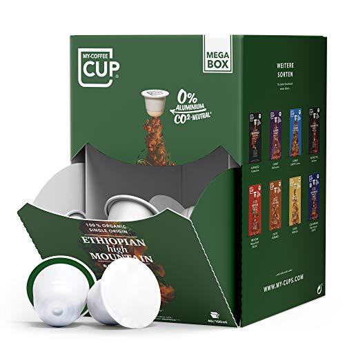 My-CoffeeCup – MEGA-BOX ETHIOPIAN HIGH MOUNTAIN – BIO-KAFFEE I 100 Kaffeekapseln für Nespresso®*-Kapselmaschinen I 100% industriell kompostierbare Kaffeekapseln – 0% Alu I Nachhaltige Kaffeekapseln