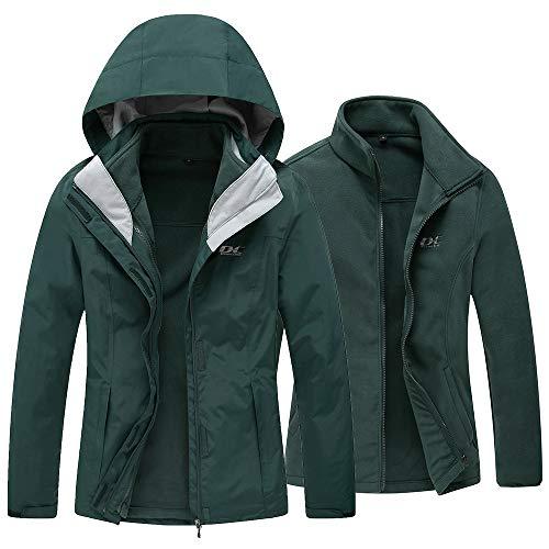 Diamond Candy Women's Winter Ski Jacket, 3-in-1 Warm Waterproof Coat with Windproof Fleece Liner, Green XXL