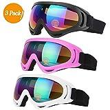 スキーゴーグル TBoonor スノボゴーグル UV400 紫外線カット 耐衝撃 防塵 防風 防雪 目が疲れにくい 登山 スキー バイク 全面適用 男女兼用 3個セット