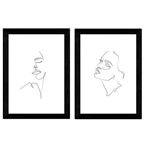 Nacnic Set de 2 láminas de Dibujos con un Solo Trazo Rostro Mujer, Lateral y Frontal. Posters con una Sola Linea. Tamaño A4 sin Marco