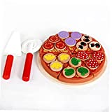 Zonster 1set Niño Cocina Simulación Pizza Party Fash Food Slins Cutting Play Play Wood Food Toy Early Learning Juego