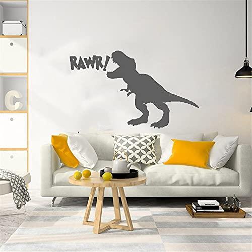 Pegatina de pared de dinosaurio de dibujos animados para habitación de niños, calcomanía de dinosaurio lindo para pared, decoración del hogar de animales, vinilo desmontable A5 57x34cm