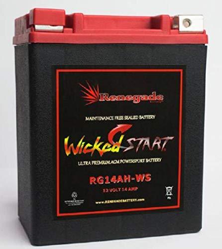RG14AH-WS; 400 Cold Cranking Amps; Arctic Cat Battery 400, 400 2X4, 400 4X4 ATV battery BTX14AH-BS,YTX14AH-BS,UB14-A2,YB14-B2