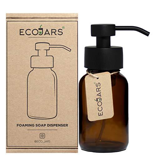 Foam Hand Wash Soap Dispenser, Amber Glass 250ml, Mat Black Colour, Stainless Steel, Scandinavian Inspired Decor Kitchen Home