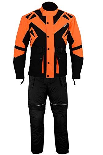 German Wear 2-teiler Motorradkombi Cordura Textilien kombi Motorradjacke + Motorradhose, 48/S, Orange