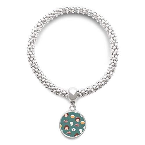 DIYthinker Womens kat Sakura rijst theepot Japan Sliver armband ronde hanger sieraden ketting