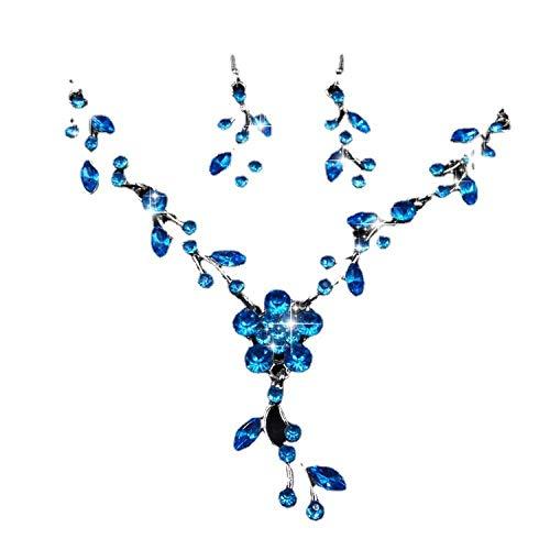 Pendientes De Collar Conjuntos Joyas,Vintage Elegante para Mujeres Niñas Azul Brillante Aleación Hojas De Diamantes Colgante A Juego De Flores Novia Hermosa Conjunto Clásico Regalo para Fiesta De C
