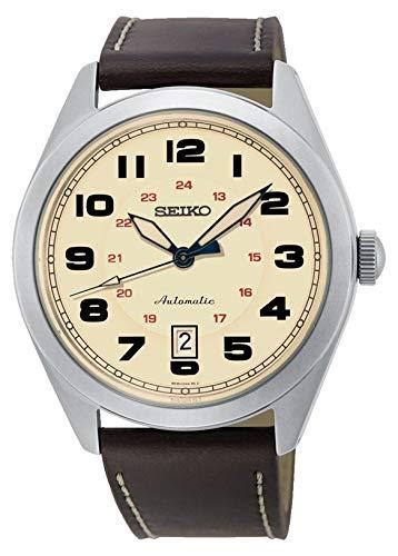 Seiko Mechanik Herren-Uhr Edelstahl mit Lederband SRPC87K1