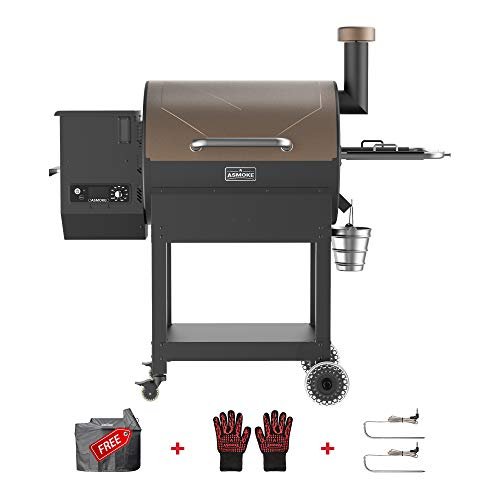ASMOKE Wood Pellet Grill and Smoker, Deluxe 700 Cooking Area 8 in 1 BBQ Grill, Advanced and Safety Design, Temperature Range 180℉ to 500℉, Include Waterproof Cover, Meat Probes and Gloves, Brown