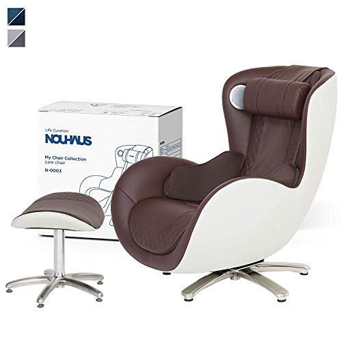 NOUHAUS Massage Chair with Ottoman – Decor Enhancing Massage Chairs with Shiatsu Massager and Tapping for Neck, Shoulder, Lower Back and Buttocks and Full Body Massagers - Brown