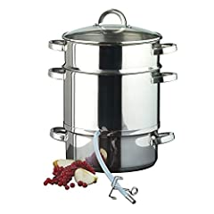 Ribelli juicer gemaakt van roestvrij staal geschikt voor inductie ca. 25 cm ca. 8 liter vulvolume Stoom juicer met glazen deksel – zacht sap van groenten en fruit*