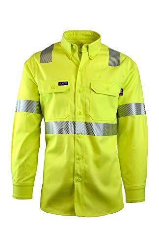 Lapco FR IHV7C3 MED REG 100% Cotton Uniform Shirt, Capacity, Volume, Cotton, Medium Regular, Hi/Vis Yellow (