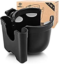Universal Stroller Cup Holder with Mobile Phone Case, 2-in-1 Strollers Storage Rack, 360 Degrees Rotation Drink Holder for Bike, Pushchair, Wheelchair, Walker,Bicycle, Fits Most Cups
