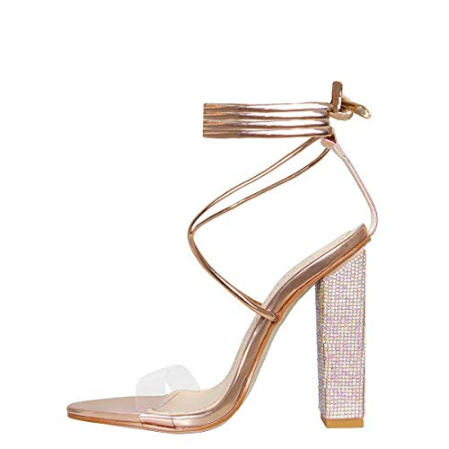Hell&Heel Rose Gold Clear Lace Up Diamante Heeled Sandals US 11