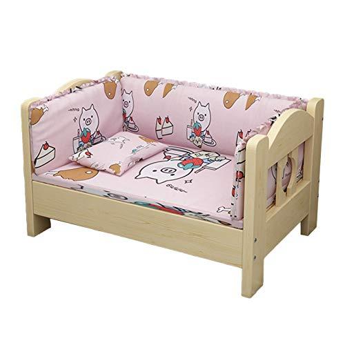 LSMK Hundebetten Holz Haustiere Bett für Große Kleine Hunde Katzen Schlafen, Drinnen Draußen Salon Sofa/Sicherheit Naturholzbett, mit Abnehmbarem Kissen und Kissen (Color : B, Size : 100×65×40cm)