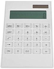 Witte rekenmachine met dubbele voeding, rekenmachines, met kristallen knop Duurzaam voor studentenbureau
