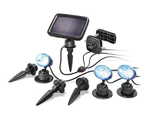 Solarspot Trio Professional RGB mit drei Spots, 7 Lichtfarben, Wechsel- oder Dauerlicht, hochwertiges und witterungsbeständiges Echtglas-Solarmodul esotec 102544