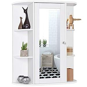 415Sa0VnInL. SS300  - Tangkula Bathroom Cabinet, Single Door Wall Mount Medicine Cabinet with Mirror(2 Tier Inner Shelves)