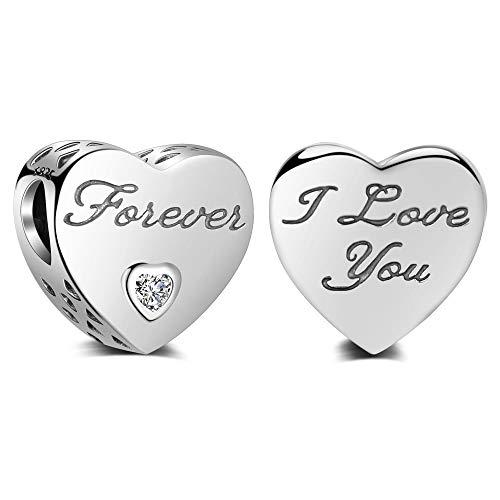 LAMENARS'I Love You (te quiero mucho)' Amor Corazón Charm con Plata de ley 925 Compatible con Pulseras y Pulseras Europeas (I Love You Forever)