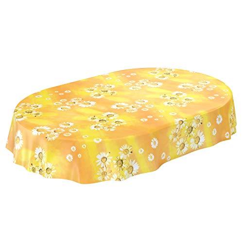 ANRO Wachstuchtischdecke Wachstuch Wachstischdecke Tischdecke Kamille Gelb Blumen Sonne Oval 180x140cm