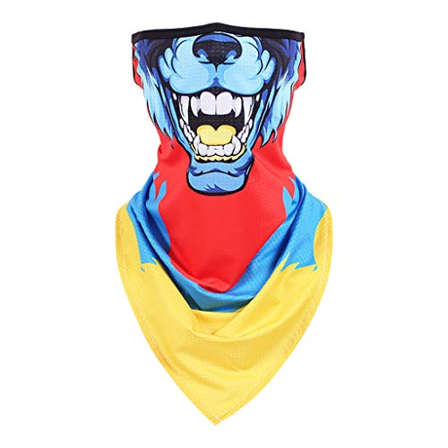 Julhold scarf 3D animal mouth printed face scarf humor neck gaiter with ear hooks bandana scarf tube scarf for nap scarf biker fishing hiking -  Turquoise - XX-Large
