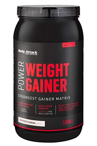 Body Attack Power Weight Gainer, 100{dc8e79dd2145e2f091fba0c8e25ea64a7dbe85bd656456c04fcbc786b90b98e2} Masseaufbau, Kohlenhydrat-Eiweißpulver zum Muskelaufbau mit Whey-Protein, ideal für Hardgainer (Cookies n Cream, 1,5 kg)