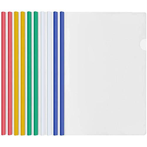 10 Fogli Trasparente A4 Copertine per Rilegatura con Barra Scorrevole, Plastica Rapporto Copertina, Cartelline Raccoglitore per Casa Scuola Ufficio Documenti Organizer (5 Colori)