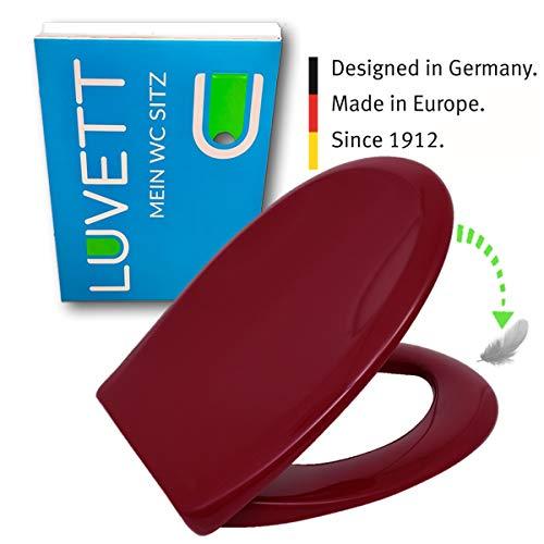 LUVETT WC-Sitz C770 oval mit Absenkautomatik SoftClose® & TakeOff® EasyClean Abnahme, Duroplast Toilettendeckel, Farbe:Rot