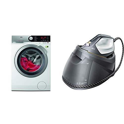 AEG L8FE76695 Waschmaschine/ProSteam - Auffrischfunktion/ÖkoMix-Faserschutz + ST8-1-8EGM Dampfbügelstation (Touchscreen, 4 Bügelprogramme mit Outdoor-Technologie, 1,2 l Wassertank, grau)