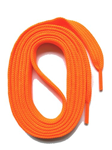 SNORS SCHNÜRSENKEL flach NEON ORANGE 130cm, reißfest, Made in Germany, universelle Flachsenkel aus Polyester für Sportschuhe Sneaker Turnschuhe und Laufschuhe - ÖkoTex, 6mm breit